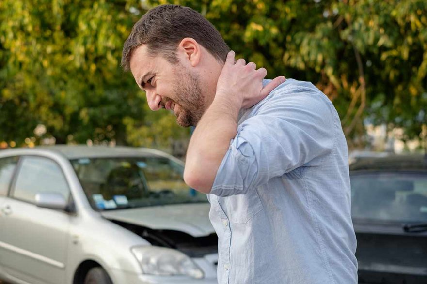 Man with a bodily injury after a car accident