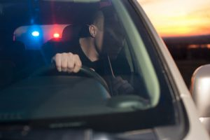 Man pulled over by a police officer