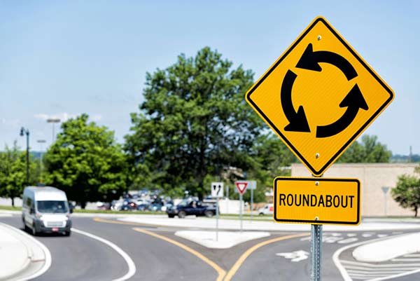 a roundabout with traffic